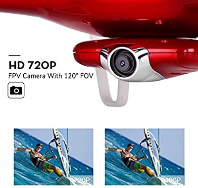 Spatial Element 720P HD Camera Aerial Drone Syma X5UW Wifi FPV RC Four-Axis Drone Outdoor Bonus Battery 2.4G 6-Axis Gyroscope (Red)
