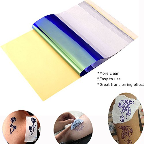 ATOMUS 25 Blätter Tattoo Transferpapier Carbon Thermal Tracing Carbon Schablone Papier Transfer Kopierpapier A4 Größe für Tattoo Drucker Maschine (50 Blätter)