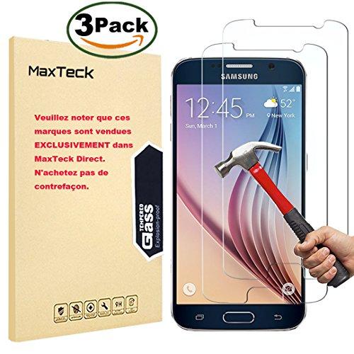 [3 Pièces] Verre Trempé Samsung Galaxy S6, MaxTeck Film Protection en Verre trempé écran Protecteur Vitre- ANTI RAYURES - SANS BULLES D'AIR -Ultra Résistant Dureté 9H pour Samsung Galaxy S6