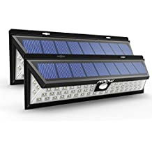 2 Unidades Mpow Foco Solar 54 LED 800lm, Lampara Solar Impermeable Energía con 120° Angulo Amplio y Sensor Movimiento 8m Solar Luz Jardín, Luz Solar Exterior para Jardín, Terraza, Garaje, Camino de Entrada, Iluminacion Exteriores y Seguridad