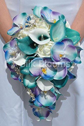 Esotico fresh touch jade calla lily. orchidea phalaenopsis artificiale rosa e avorio cascata per matrimonio bouquet