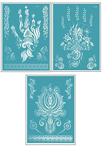 White Flower Set de POSH TATTOO® ||| tatouages temporaires | Metallic Tattoo | Flash Tattoos | Gold Tattoos |