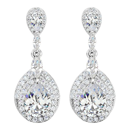 EVER FAITH® Damen 925 Sterling Silber CZ Hochzeit Tropfen Pierced Dangle Ohrringe klar N08003-1