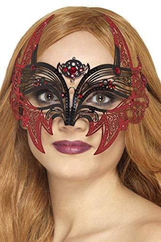 Smiffys SMIFFY 'S 45034Metall Filigran Devil Eye Mask, Schwarz und Rot, One Size