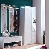 Garderoben Set LAZURE148 Hochglanz weiß Lackiert, LED-Beleuchtung mit Fernbedinung, Garderobenbank + Garderobenschrank + Garderobenpaneel mit Ablage