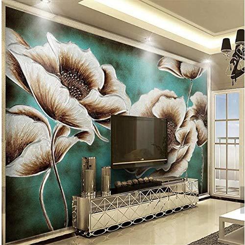 Mrlwy Europäische Stereo Ölgemälde Mais Blume Tapete Wandbild 3D Gedruckt Foto Wandmalereien Wanddekor Gold Floral Wandbilder-200X140CM -