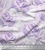 Soimoi Lila japanischer Kreppsatin Stoff Rose Blumen- Stoff drucken Meter 44 Zoll breit