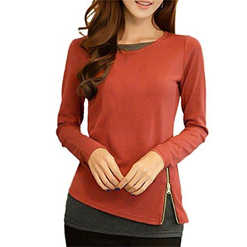 Lange Thermal Knit Henley (BURFLY Slim Shirts Frauen Bluse O Hals Langarm T-Shirt mit Reißverschluss oben Tops Sommerkleidung für Frauen (XL, Rot))
