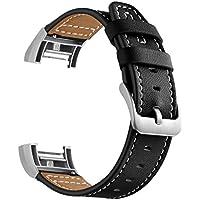 Conquro Reloj Correa Retro Cuero para Reloj Tradicional de Gama Alta Accesorios Deportes para Carga de Fitbit 2 (Negro)