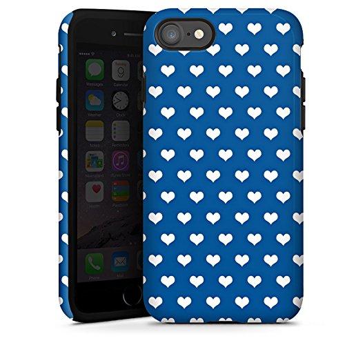 Apple iPhone X Silikon Hülle Case Schutzhülle Herzchen Polka Muster Tough Case glänzend