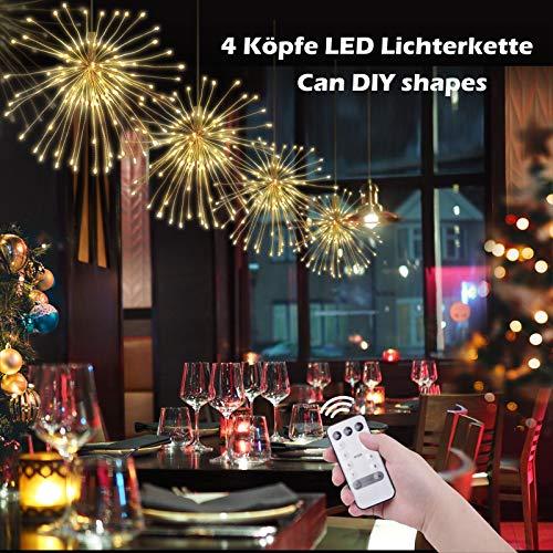 ichterkette Hängend Feuerwerk Licht Dekorations Kupferdraht 120 LED 8 Modi IP65 Wasserdicht Innen und Außen für Weihnachten Hochzeit Party Zuhause ()
