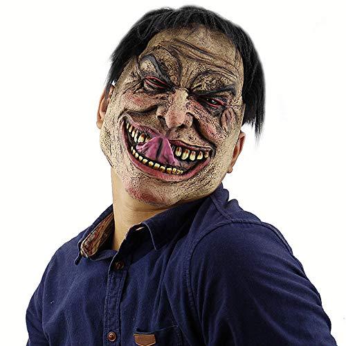 ZOUQILAI Halloween Funny unglücklich Herren Maske Clown Maske Weißbrauen Old Demon Halloween Horror Teufel Maske Vampir Kopf Maske (Farbe : SCHWARZ)