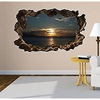 3D Wandtattoo Meer Ozean Sonnenuntergang Wasser Wandbild Wandsticker  Selbstklebend Wohnzimmer Wand Aufkleber 11E527, Wandbild Größe