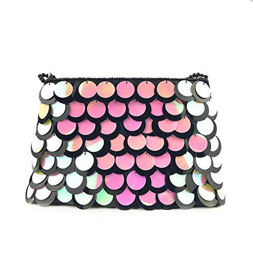 KIMODO Damen Abendtasche Frauen Handbestickte Pailletten Chain Umhängetasche Elegante Gradient Scales Clutch Handtasche (Mehrfarbig)