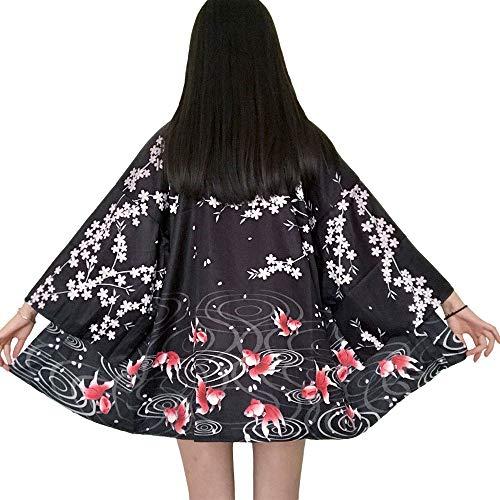 Japanische Kimonos Damen Kleiung - Traditionell Haori Kostüm Robe Tokio Harajuku Drachen Muster Antik Jacke Nachthemd Bademantel Nachtwäsche (Goldfish)
