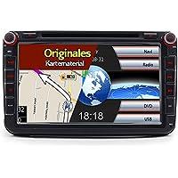 A-Sure 8 Zoll 2 Din 3G DAB+ Autoradio Navi DVD GPS VMCD BT Für VW Passat Golf 5 6 Touran Tiguan Multivan T5 Polo Jetta Caddy Skoda Seat Altea original Kartematerial (49 europäische Länder)Z58W7Q