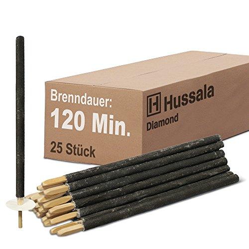 Hussala - Diamond Wachsfackeln Brennzeit 120 min Garten-Fackeln [25 Stück]