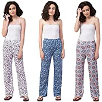 Riddle Women Track Pant Lower Cotton Printed Payjama/Lounge Wear –Soft Cotton Night Wear Pyjama for Women(Pack of 3Pcs), Prints May Vary (Assorted Pyjama)