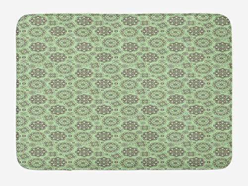 JIEKEIO Vintage Bath Mat, Abstract Floral Motif with Ornamental Swirls and Curves Medieval Inspirations, Plush Bathroom Decor Mat with Non Slip Backing, 23.6 W X 15.7 W Inches, Pale Green Brown -