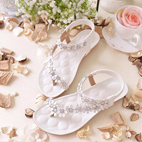 YOUJIA Damen Bohemia Bequem Blumen Wulstige Flip Flops Zehentrenner Flach Strandschuhe Sandalen Weiß #Strasssteine