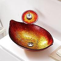 AIURLIFE Retro foglia forma temperato lavello del vaso di vetro con lavello rubinetto cascata, Pop - Up di scarico e anello di montaggio