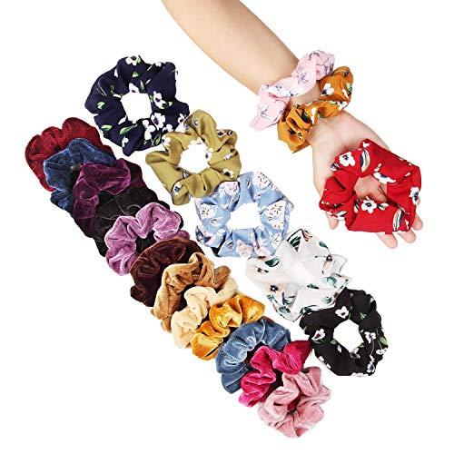 Scrunchies, 20 Stück Haargummis Mädchen Scrunchies Samt Haargummis Chiffon Blume bunt elastisch Haarbänder für Pferdeschwanz Haarband Haar Scrunchies