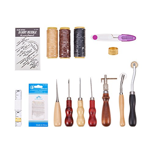 PandaHall Elite Leder Craft Kit, mit Leder-Arbeitsgeräte, mit Eisen-Selbstfadennadeln und Leder-Carving-Druckwerkzeuge, gemischte Farbe,220x131x60mm