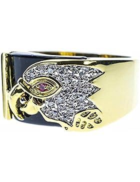 ISADY - Tekoa - Herren-Ring - 585er 14K Gold platiert - Zirkonium design Adler