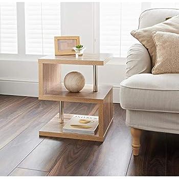 hampton oak finish 2 tier side table elegant design living room bedroom furniture
