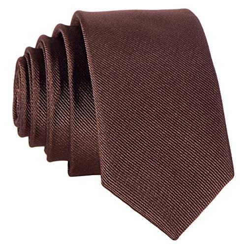 DonDon Schmale braune handgefertigte Krawatte 5 cm dunkelbraun nussbraun