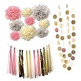 #10: Segolike Set of 23pcs Wedding Party Decor Kits Paper Flowers Pom Poms Tassels Paper Bunting Garland