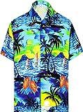 LA LEELA Shirt Camicia Hawaiana Uomo XS - 5XL Manica Corta Hawaii Tasca-Frontale Stampa Hawaiano Casuale Regular Fit Arancia1896 5XL