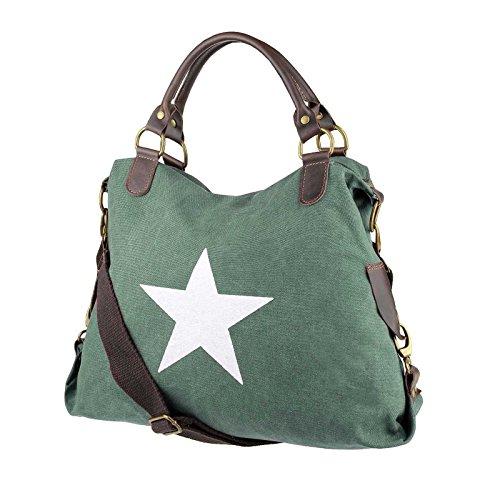 OBC DESIGN ITALIANO borsa borsa di cuoio borsa donna TELA COTONE Crossover Borsa a Tracolla Sportivo BORSA TRACOLLA BORSA CON MANICI SHOPPER DIN-A4 - Grigio (strass-stern), ca 44x42x15 cm ( BxHxT ) Verde (manico pelle)