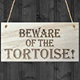 Red Ocean Beware Of The Tortoise Novelty Wooden Hanging Shabby Chic Plaque Gift