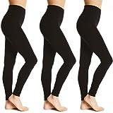 Bonjour® - Ladies 3 Pack - Women's Full Length Cotton Leggings Soft, Plus Sizes