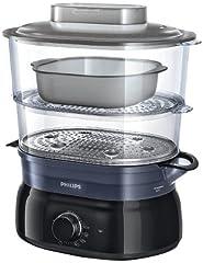 Idea Regalo - Philips HD9116/00 Vaporiera con Infusore di aromi, 2 cestelli, Capacità 5 L - Daily Collection -