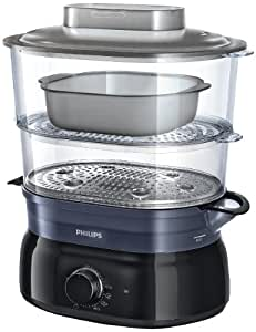 Philips HD9116/00 Vaporiera con Infusore di aromi, 2 cestelli, Capacità 5 L - Daily Collection -