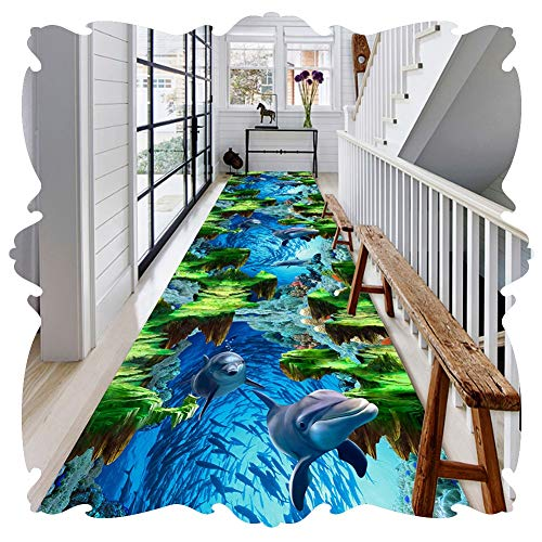 ich Flur Teppichläufer Waschbar Pflegeleicht Weich rutschfest Drucken Delphin Meer Schwimmende Insel Schneidbar Anpassbare (Color : A, Size : 0.9x6.5m) ()