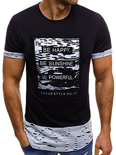OZONEE Mix Herren T-Shirt Aufdruck Camouflage Motiv Kurzarm Rundhals Figurbetont JS/SS205 SCHWARZ M (T-shirt Out Letzte)