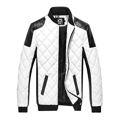 Herren PU Lederjacke Zipper Stehkragen Jacke Kunst-Lederjacke Bikerjacke Weiß M