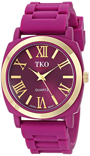tko-womens-round-metal-gold-bezel-berry-purple-soft-rubber-band-roman-numeral-watch-tk641pr