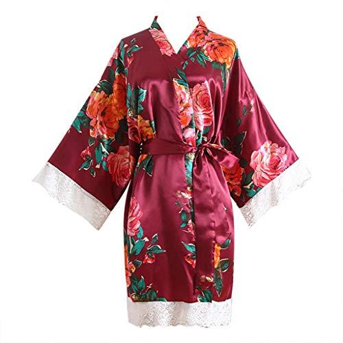 pivoine Dentelle Kimonos Au genou 1/2 femme pyjama Imprimé mini chic longueur satin coton sous manches vêtements jupe grande femmes dames moitié glisser élastiquée élasthanne 52' longue elégant salope
