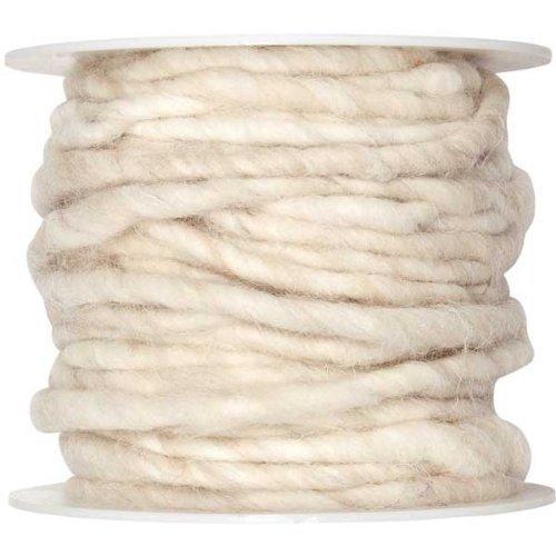 10m Wollschnur mit Juteseele Wollband Wolle Dekowolle Filzkordel D ca. 5mm, Farbe:creme