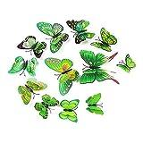 Alicemall Etiquetas Engomadas Mariposas PVC Decoración de la Pared Para Hogar Habitación Vinilos de Pared Verde