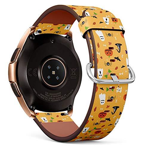 mit für Samsung Galaxy Watch (42MM) - Leder-Armband Uhrenarmband Ersatzarmbänder mit Schnellverschluss (Halloween-Postkarte) ()