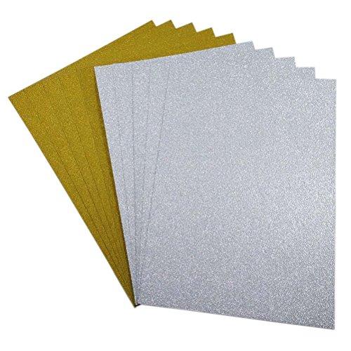 ULTNICE 10pcs Glitter Cardstock Papier Schein A4 Karte für Diy Material Handwerk Scrapbook (Gold + Silber) Silber-glitzer-papier-karton