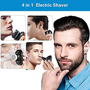 Electric Shaver Razor 4 in 1 Electric Head Shaver for Men, 5D Rechargeable Wet Dry Rotary Shaving Razors with Blade Precision Trimmer, IPX7 Waterproof Electric Razor for Bald Head Hair Nose Trimmer