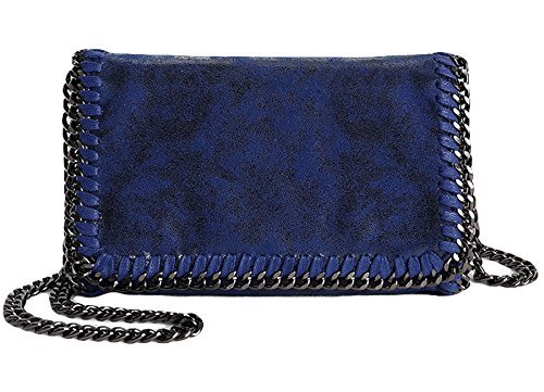 Rovanci Damen Handtasche Elegant Taschen Damen Shopper Schultertasche Kette Aprikose Blau