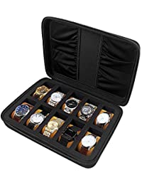 10 Grip Watch Box. Hard Case Display Storage Bag with Sponge Position, Watch Strap Accessories Pocket, Pillow Inside for Men or Women - Black