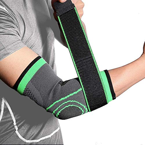 Archir Elbow Support Ellenbogenbandage mit Kompressionsriemen for Männer und Frauen, Arm-Hülsen-Tennis Golfers Gewicht Tendonitis Gelenkschmerzen Relief Sleeves (Color : Green, Size : M)